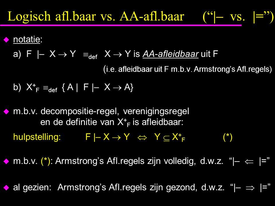 Logisch afl.baar vs. AA-afl.baar ( |– vs. |= )