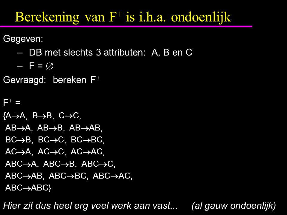 Berekening van F+ is i.h.a. ondoenlijk