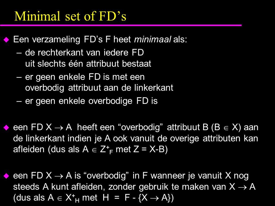 Minimal set of FD's Een verzameling FD's F heet minimaal als: