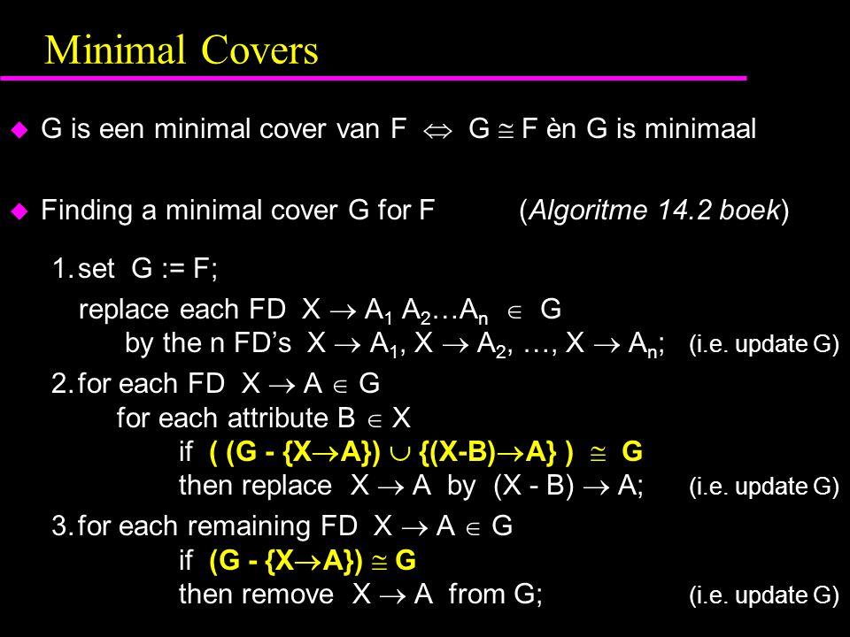 Minimal Covers G is een minimal cover van F  G  F èn G is minimaal
