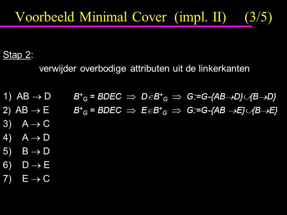 Voorbeeld Minimal Cover (impl. II) (3/5)