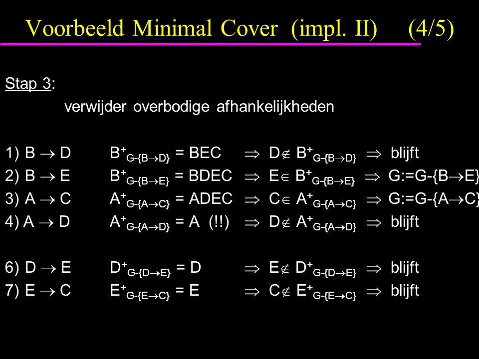 Voorbeeld Minimal Cover (impl. II) (4/5)