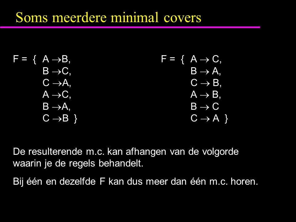 Soms meerdere minimal covers