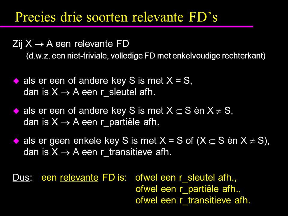 Precies drie soorten relevante FD's