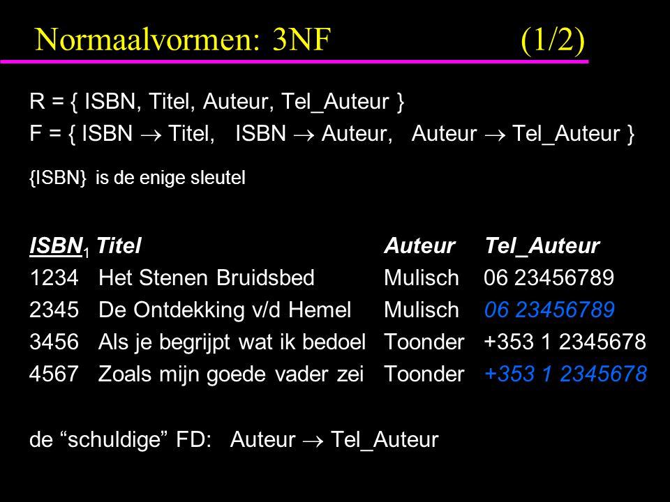 Normaalvormen: 3NF (1/2) R = { ISBN, Titel, Auteur, Tel_Auteur }