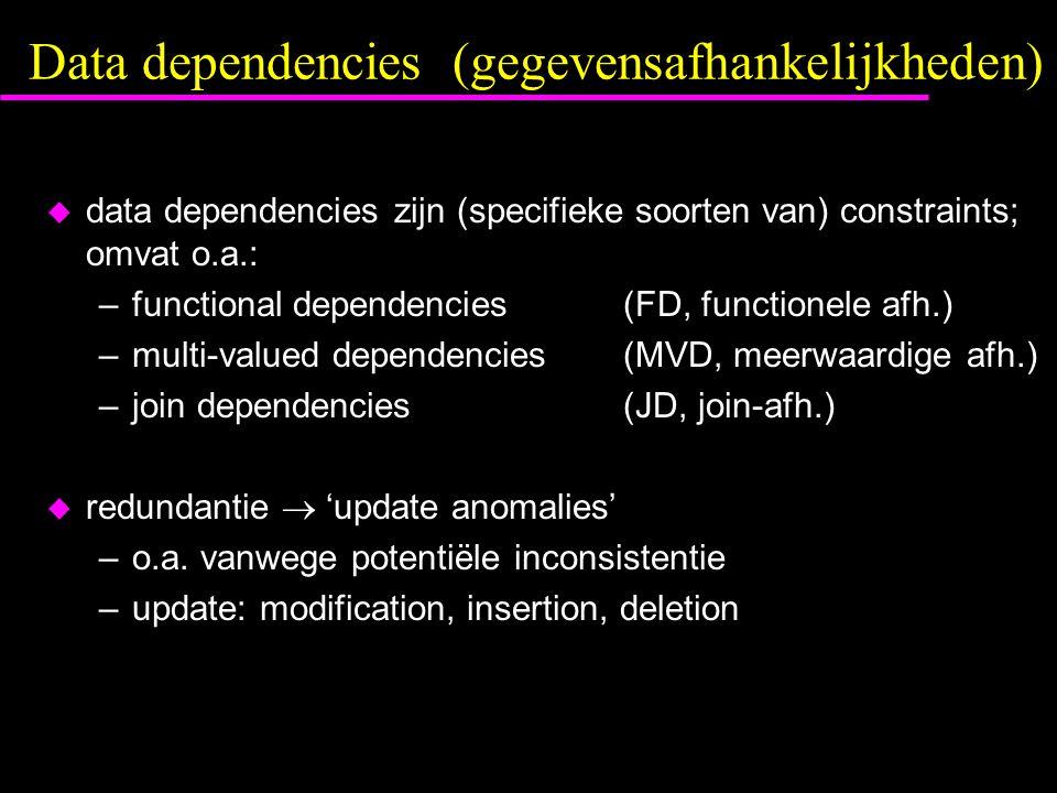 Data dependencies (gegevensafhankelijkheden)