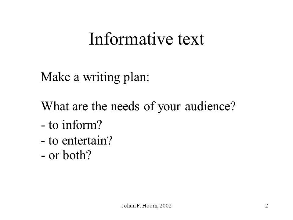 Informative text Make a writing plan:
