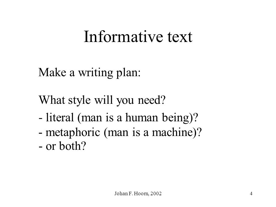 Informative text Make a writing plan: What style will you need