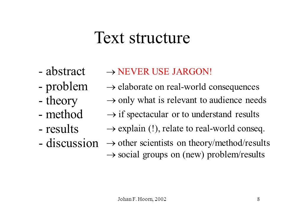 Text structure - abstract - problem - theory - method - results