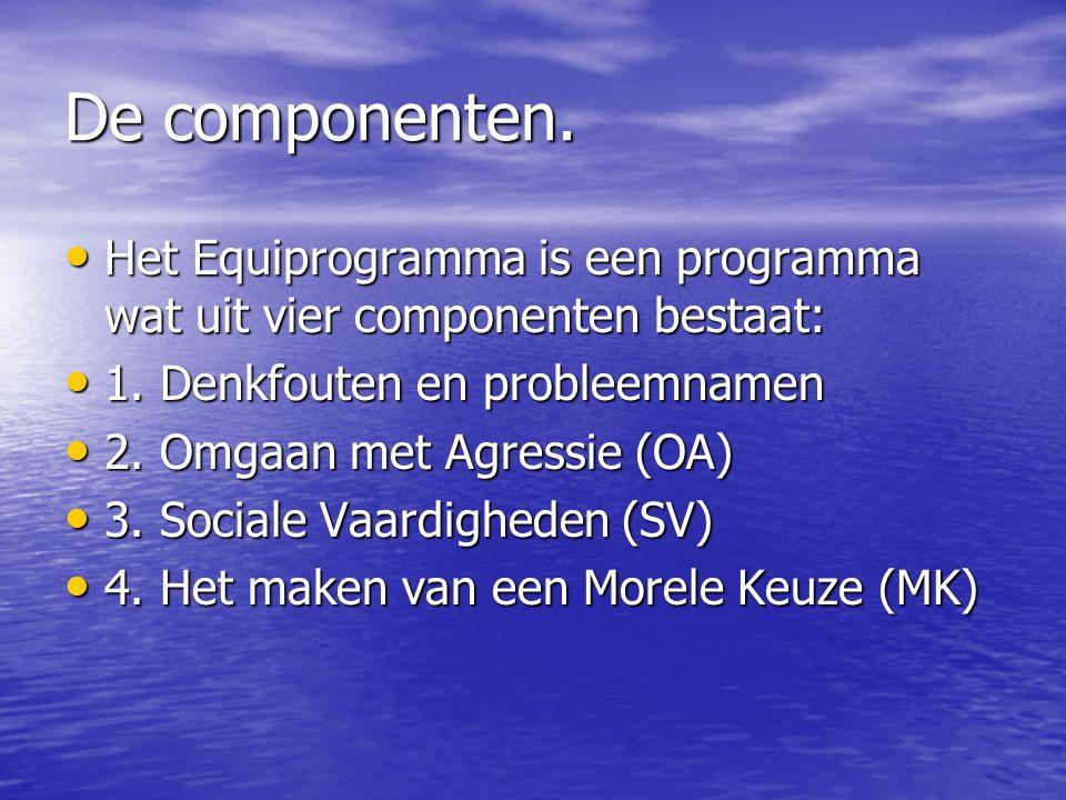 De componenten. Het Equiprogramma is een programma wat uit vier componenten bestaat: 1. Denkfouten en probleemnamen.