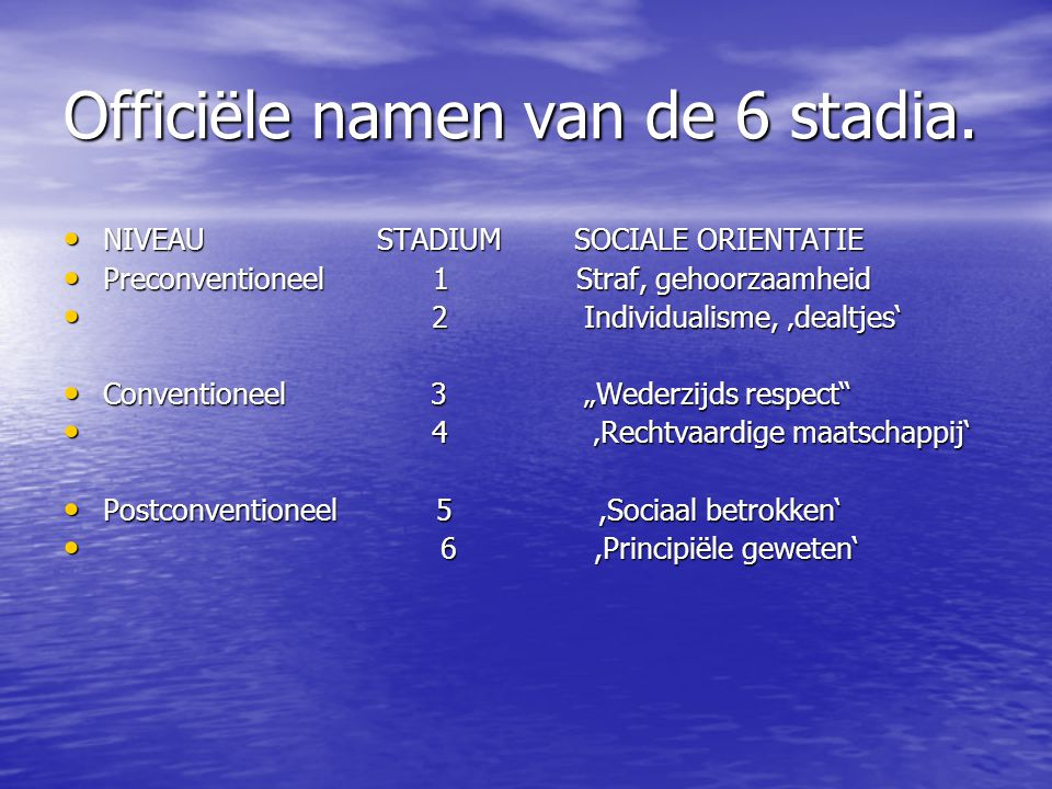 Officiële namen van de 6 stadia.