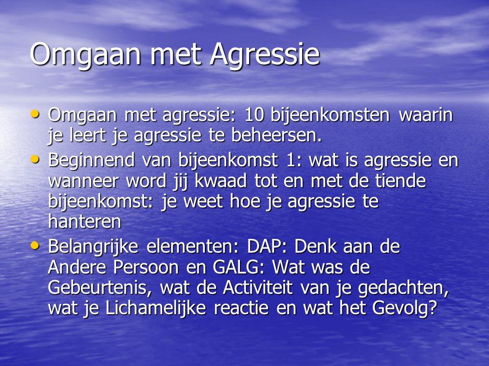 Omgaan met Agressie Omgaan met agressie: 10 bijeenkomsten waarin je leert je agressie te beheersen.