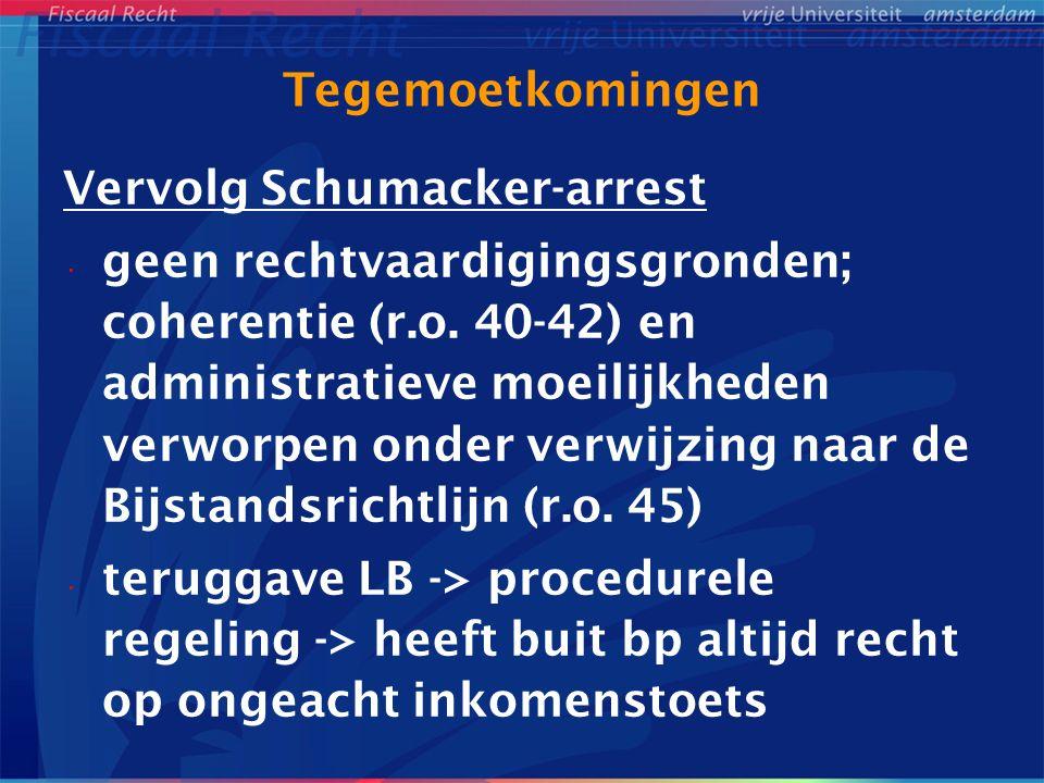 Tegemoetkomingen Vervolg Schumacker-arrest.