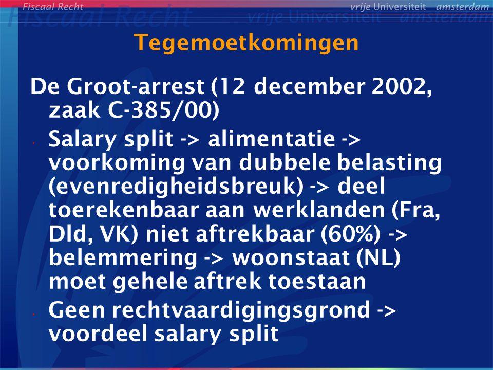 Tegemoetkomingen De Groot-arrest (12 december 2002, zaak C-385/00)