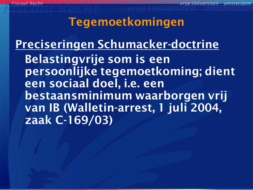 Tegemoetkomingen Preciseringen Schumacker-doctrine.