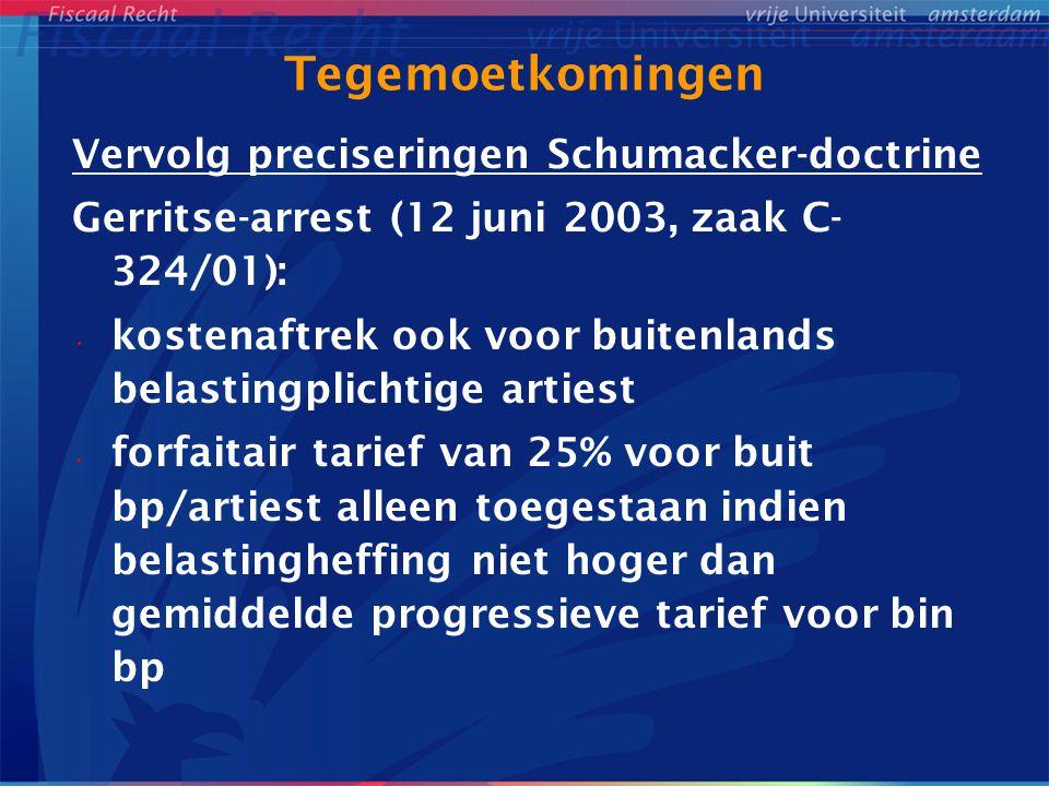 Tegemoetkomingen Vervolg preciseringen Schumacker-doctrine