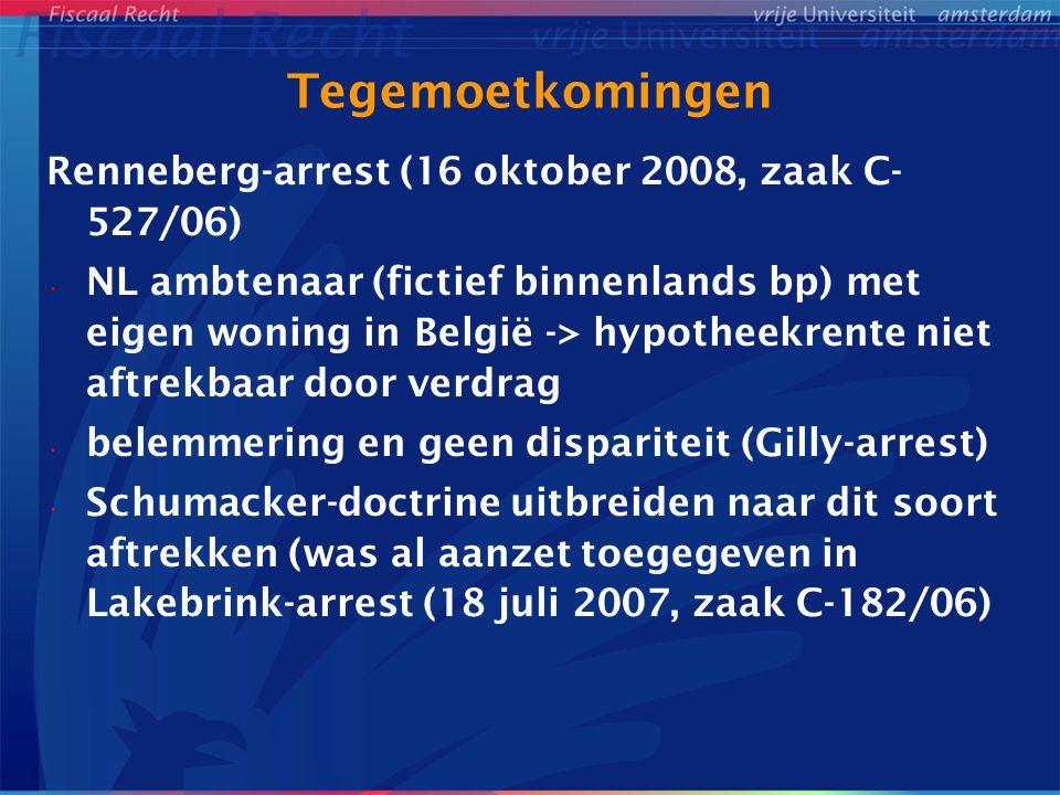 Tegemoetkomingen Renneberg-arrest (16 oktober 2008, zaak C-527/06)