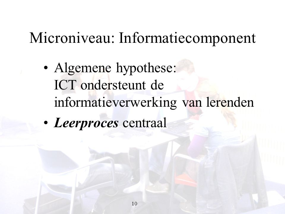 Microniveau: Informatiecomponent