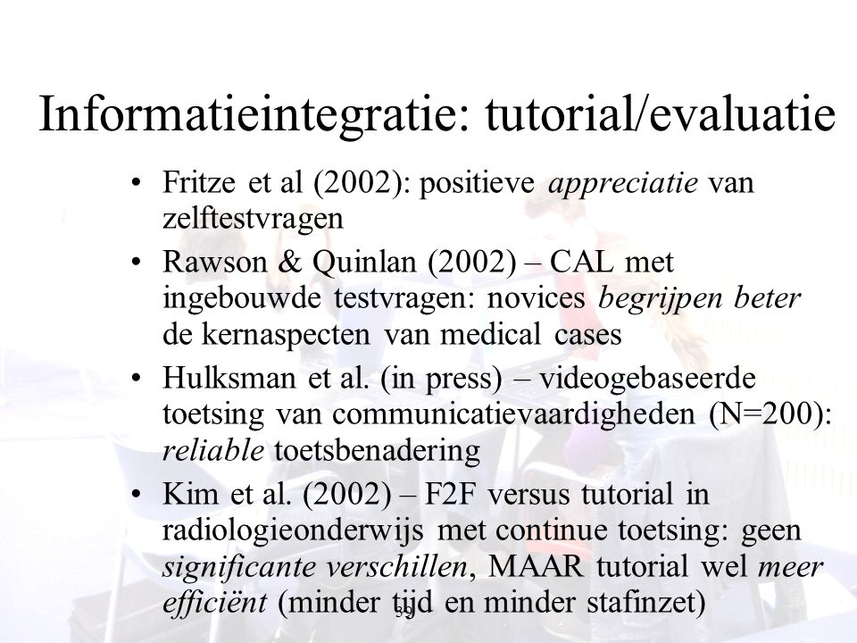 Informatieintegratie: tutorial/evaluatie