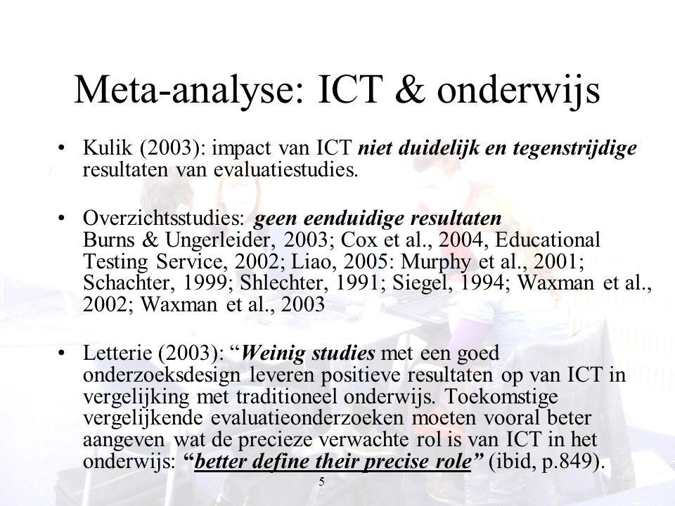 Meta-analyse: ICT & onderwijs