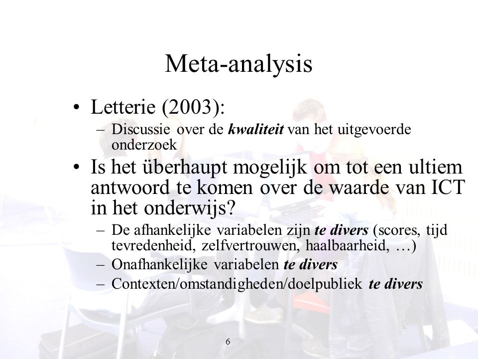 Meta-analysis Letterie (2003):