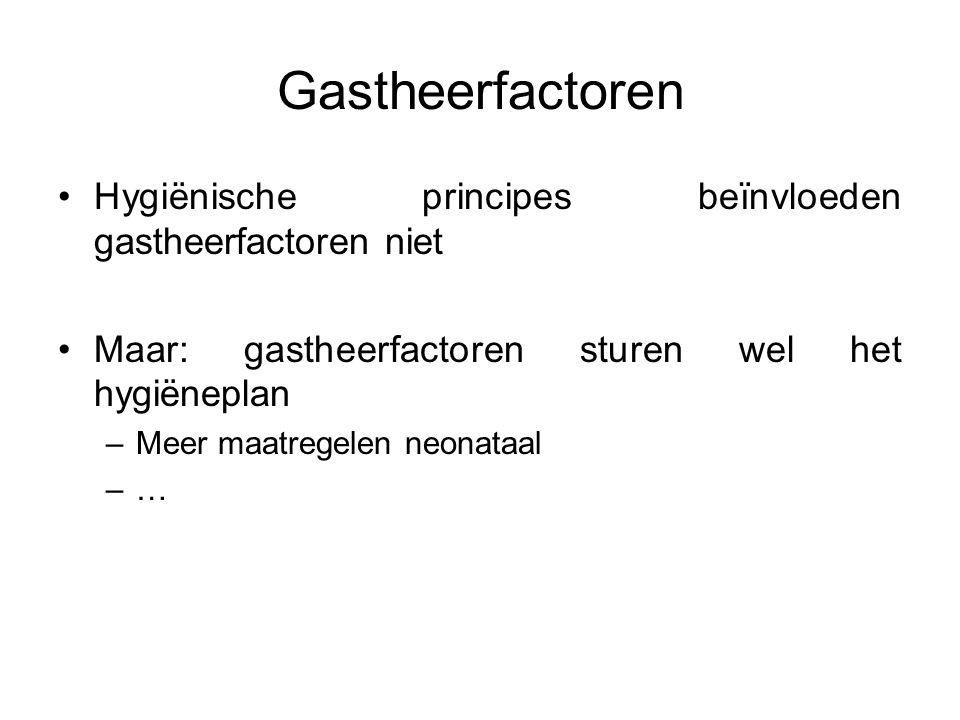 Gastheerfactoren Hygiënische principes beïnvloeden gastheerfactoren niet. Maar: gastheerfactoren sturen wel het hygiëneplan.