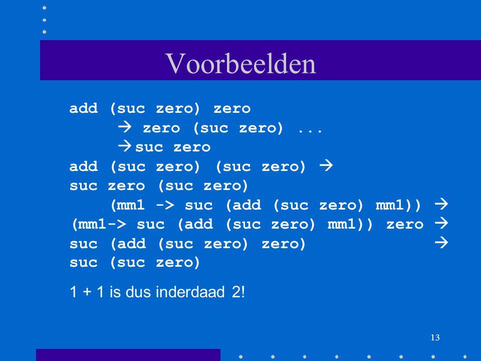 Voorbeelden add (suc zero) zero  zero (suc zero) ... suc zero