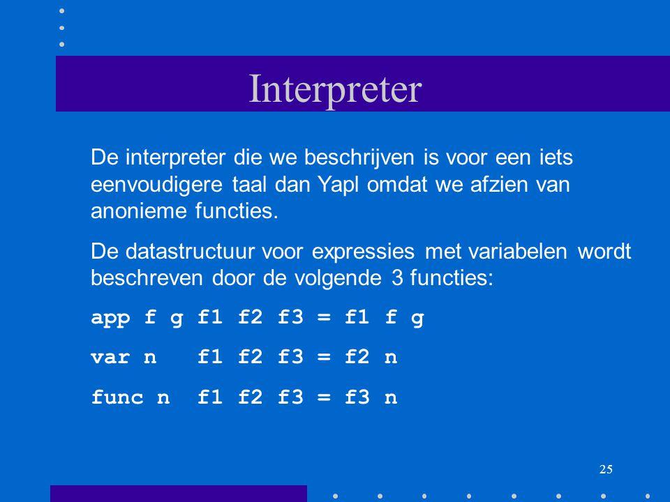 Interpreter De interpreter die we beschrijven is voor een iets eenvoudigere taal dan Yapl omdat we afzien van anonieme functies.