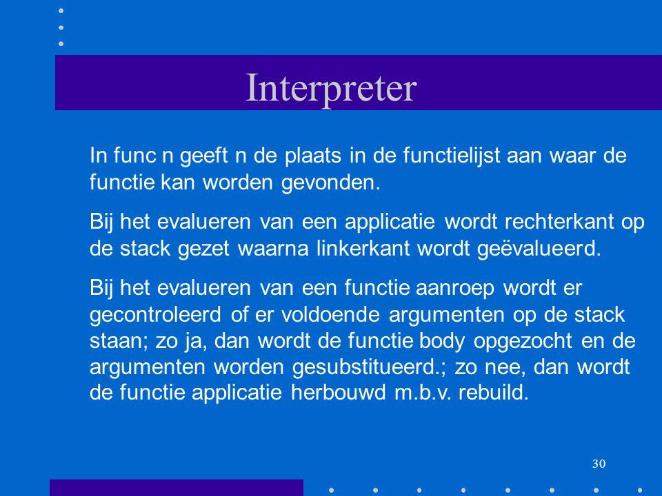 Interpreter In func n geeft n de plaats in de functielijst aan waar de functie kan worden gevonden.