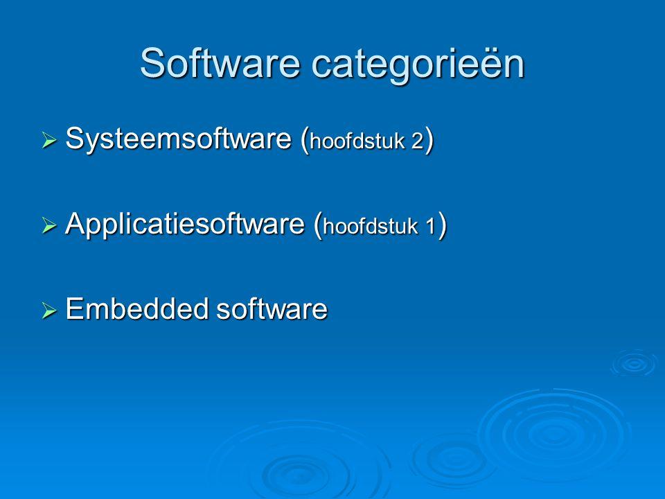 Software categorieën Systeemsoftware (hoofdstuk 2)