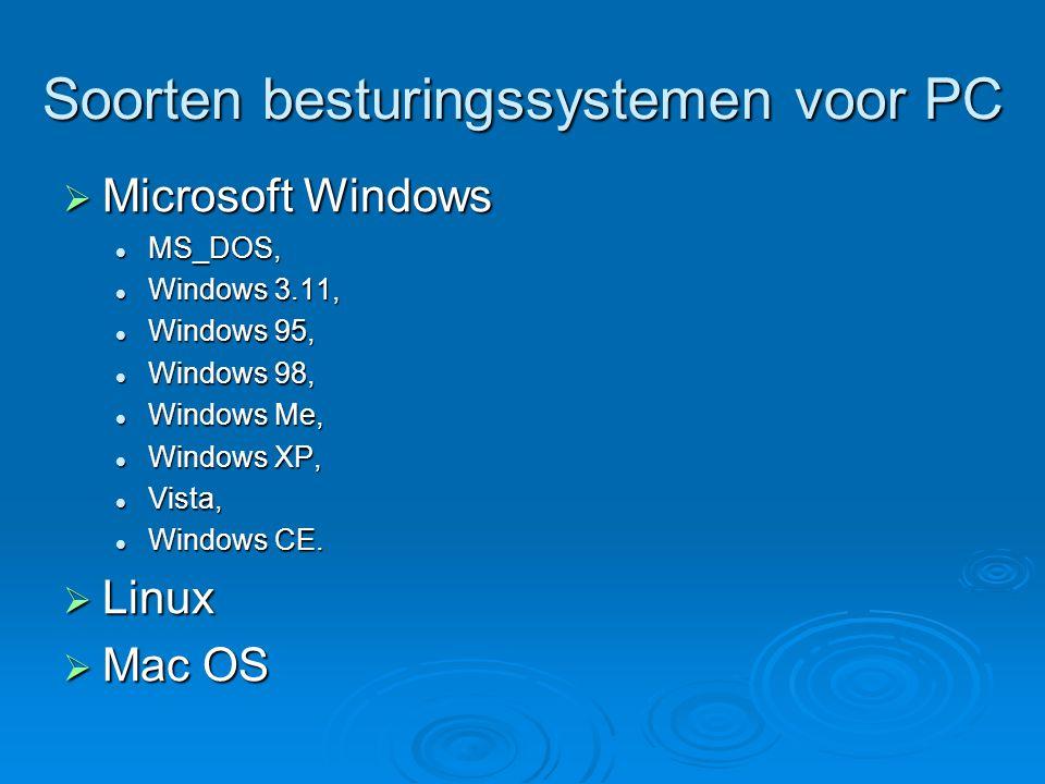 Soorten besturingssystemen voor PC