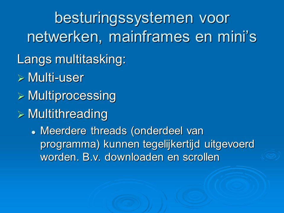 besturingssystemen voor netwerken, mainframes en mini's