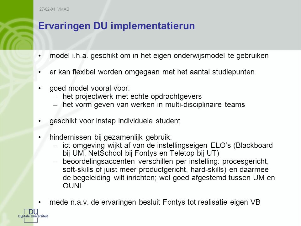Ervaringen DU implementatierun