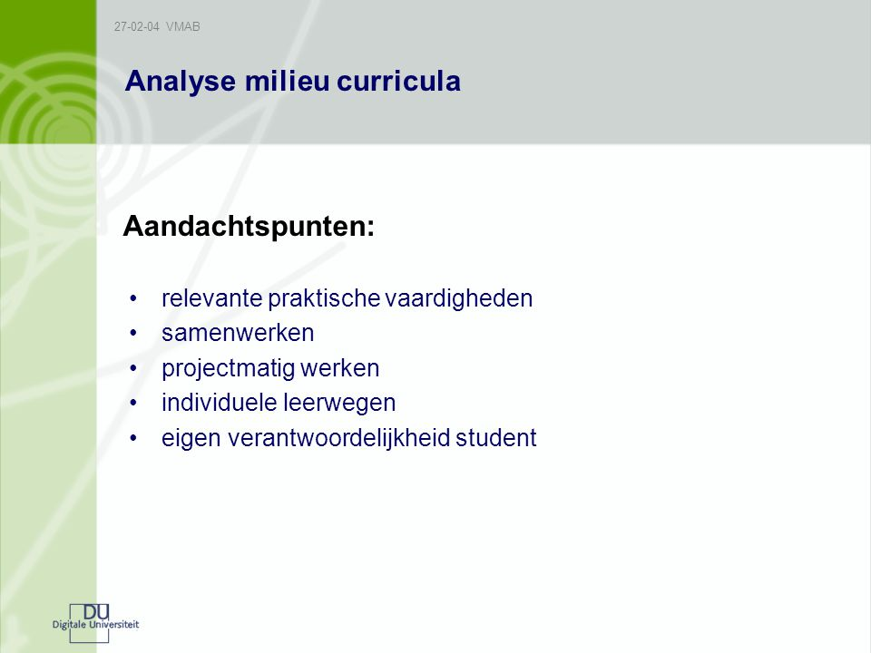 Analyse milieu curricula