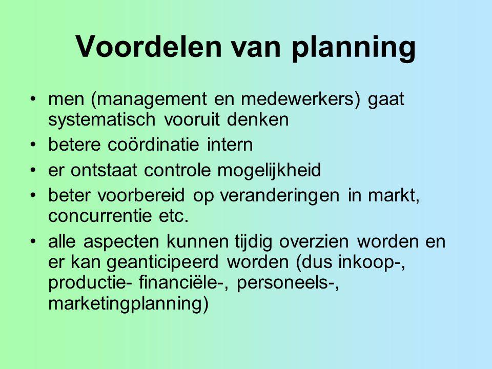 Voordelen van planning