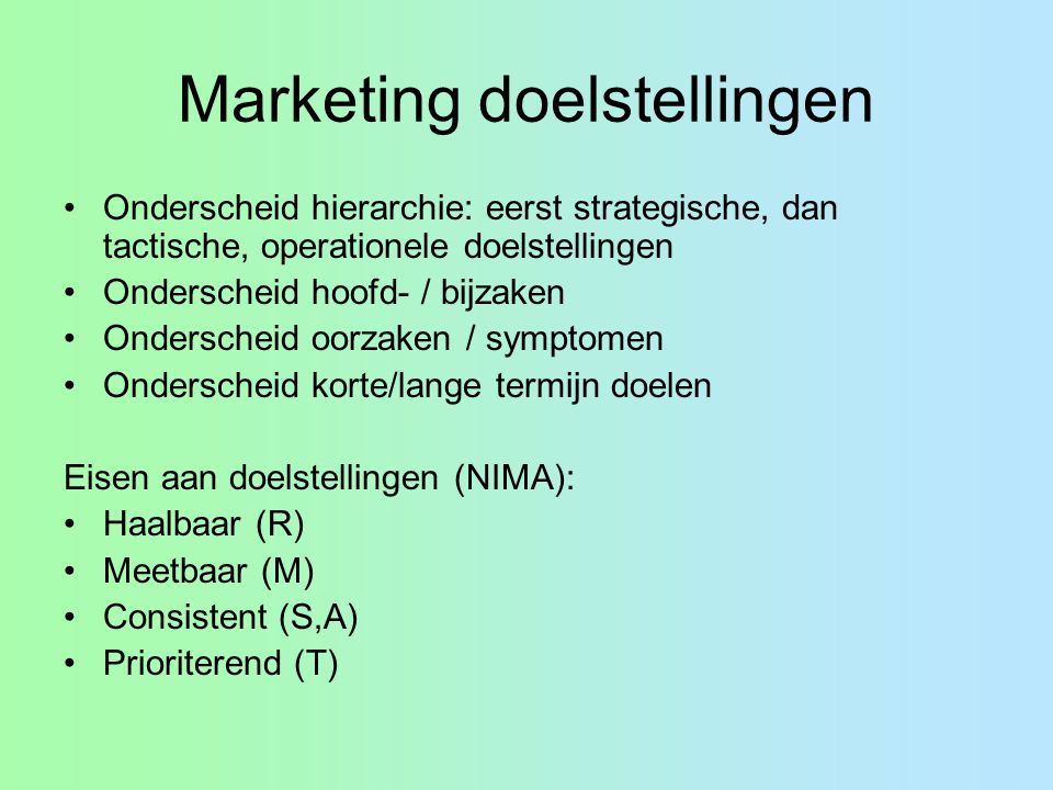 Marketing doelstellingen