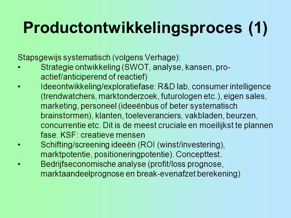 Productontwikkelingsproces (1)
