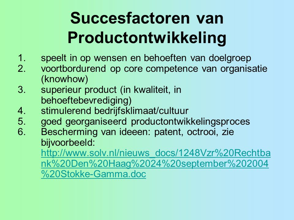 Succesfactoren van Productontwikkeling