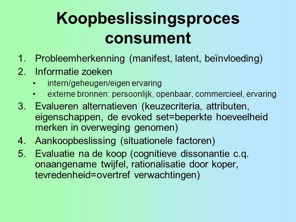 Koopbeslissingsproces consument