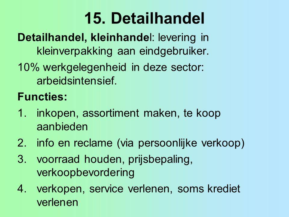 15. Detailhandel Detailhandel, kleinhandel: levering in kleinverpakking aan eindgebruiker. 10% werkgelegenheid in deze sector: arbeidsintensief.
