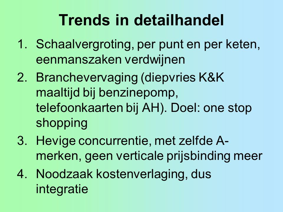 Trends in detailhandel