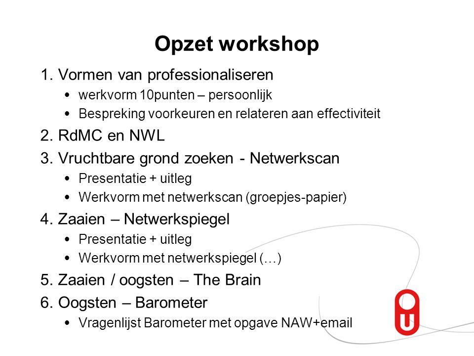 Opzet workshop Vormen van professionaliseren RdMC en NWL