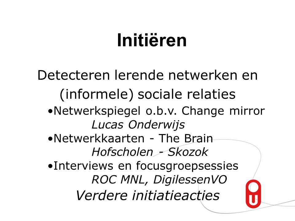 Initiëren Detecteren lerende netwerken en (informele) sociale relaties