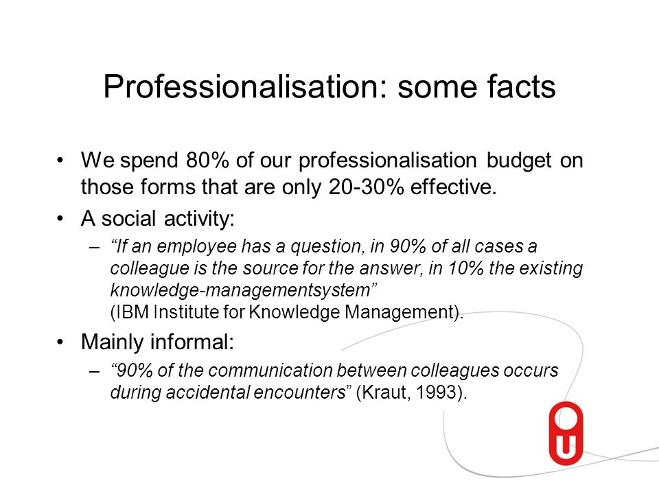 Professionalisation: some facts