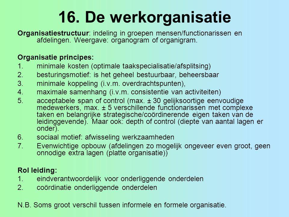 16. De werkorganisatie Organisatiestructuur: indeling in groepen mensen/functionarissen en afdelingen. Weergave: organogram of organigram.