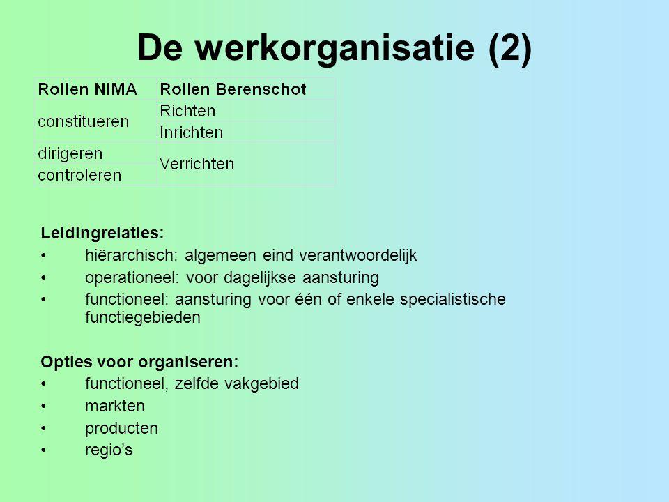 De werkorganisatie (2) Leidingrelaties: