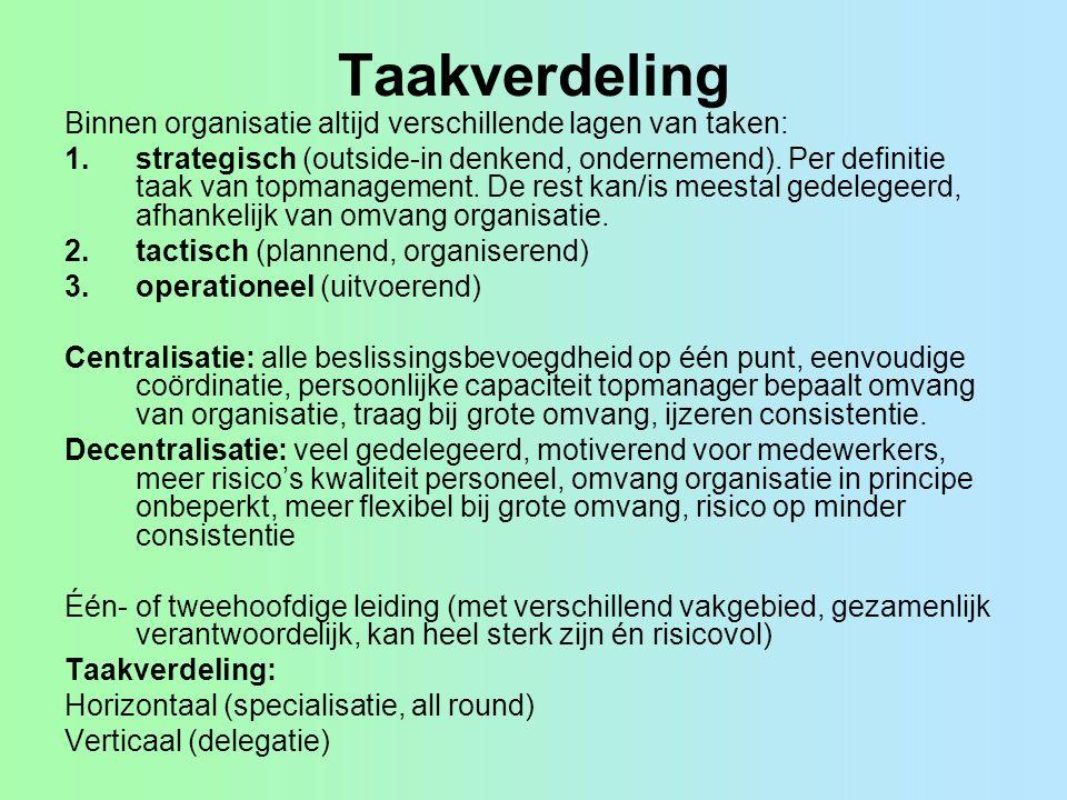 Taakverdeling Binnen organisatie altijd verschillende lagen van taken: