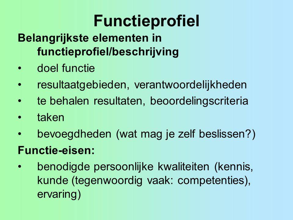 Functieprofiel Belangrijkste elementen in functieprofiel/beschrijving