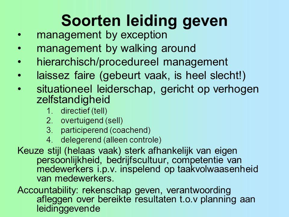 Soorten leiding geven management by exception