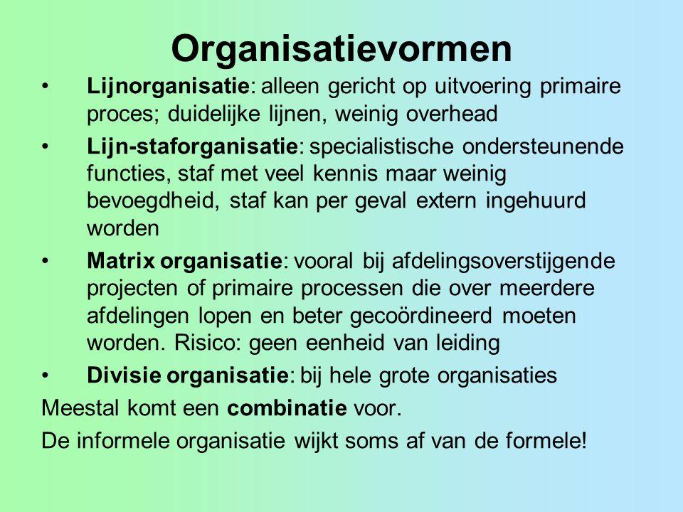 Organisatievormen Lijnorganisatie: alleen gericht op uitvoering primaire proces; duidelijke lijnen, weinig overhead.